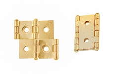 "Double Action Cabinet Hinges for 3/4"" Panels ~ 1-3/4"" High ~ Brass Finish"