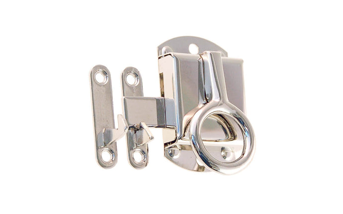 Stamped Brass Right-Handed Ring Latch ~ Polished Nickel Finish