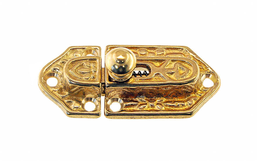 Ornate Spring-Loaded Solid Brass Latch Catch ~ Non-Lacquered Brass (will patina over time)
