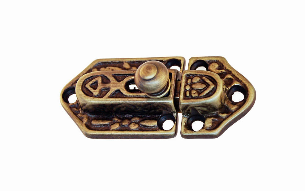 Ornate Spring-Loaded Solid Brass Latch Catch ~ Antique Brass Finish