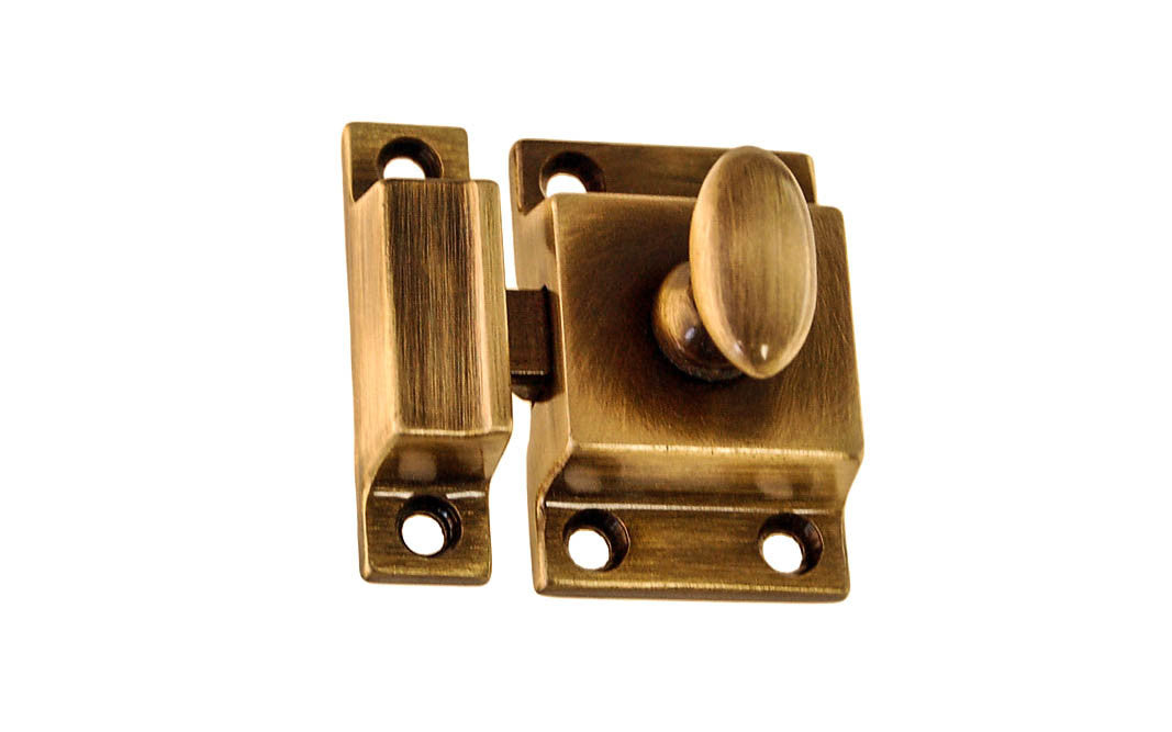 Solid Brass Cupboard Cabinet Latch ~ Antique Brass Finish
