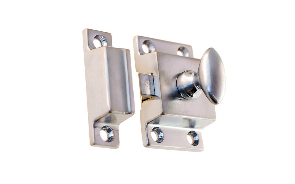 Solid Brass Cupboard Cabinet Latch ~ Brushed Chrome Finish
