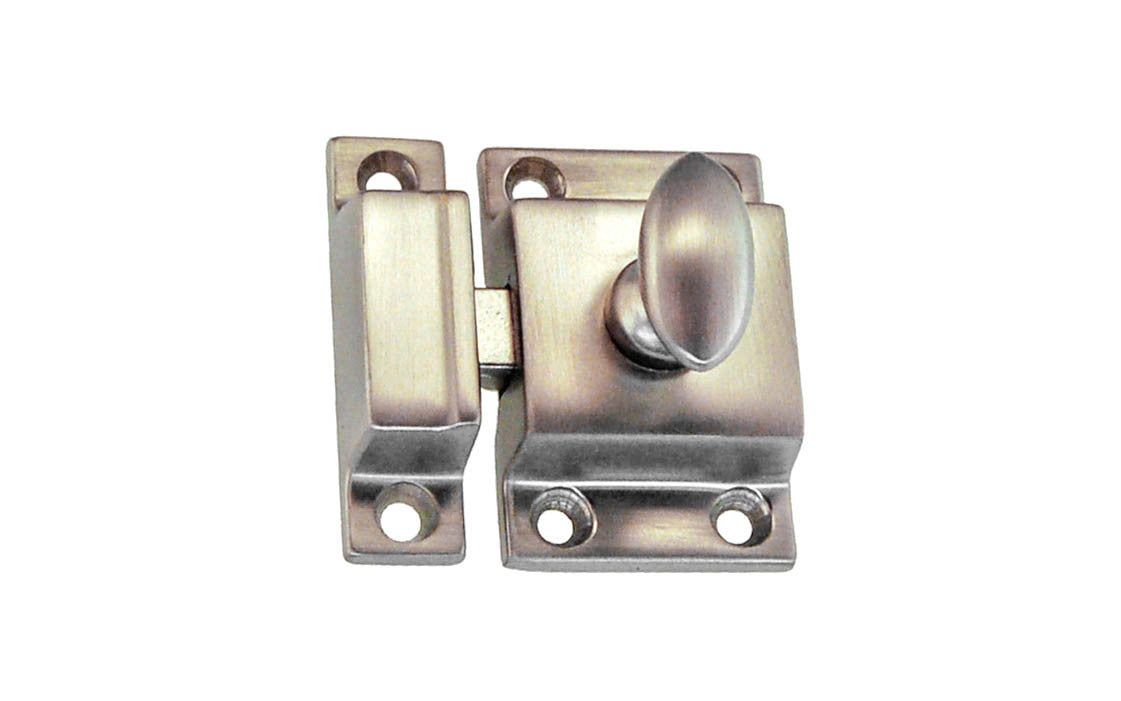 Solid Brass Cupboard Cabinet Latch ~ Brushed Nickel Finish