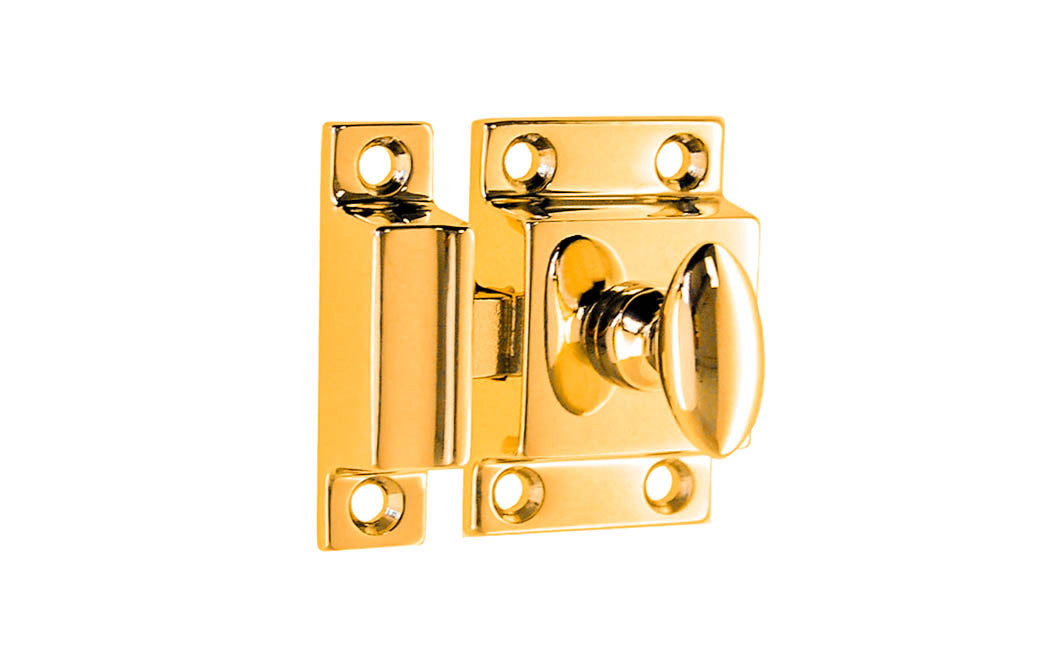 Solid Brass Cupboard Cabinet Latch ~ Non-Lacquered Brass (will patina naturally over time)