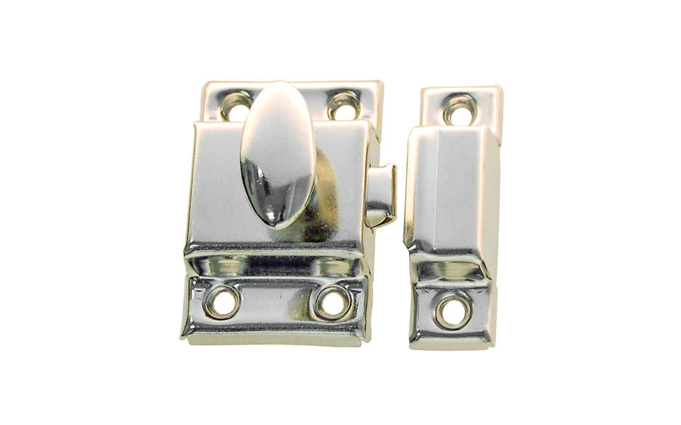 Stamped Steel Cabinet Latch ~ Polished Nickel Finish