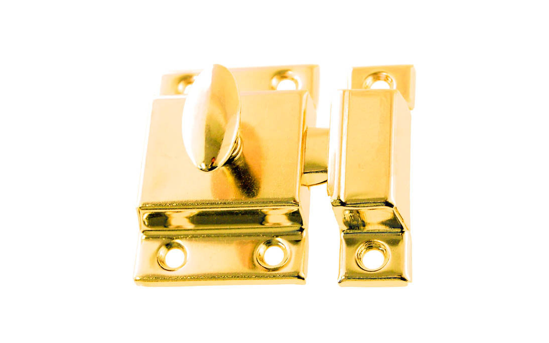 Stamped Steel Cabinet Latch ~ Polished Brass Finish