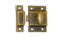 Stamped Steel Cabinet Latch ~ Antique Brass Finish