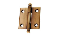 "Classic Solid Brass Ball-Tip Cabinet Hinge ~ 1-1/2"" High x 1-1/2"" Wide ~ Antique Brass Finish"