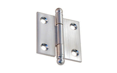 "Classic Solid Brass Ball-Tip Cabinet Hinge ~ 1-1/2"" High x 1-1/2"" Wide ~ Brushed Chrome Finish"