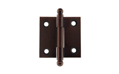 "Classic Solid Brass Ball-Tip Cabinet Hinge ~ 1-1/2"" High x 1-1/2"" Wide ~ Oil Rubbed Bronze Finish"