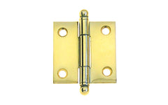 "Classic Solid Brass Ball-Tip Cabinet Hinge ~ 1-1/2"" High x 1-1/2"" Wide ~ Non-Lacquered Brass (will patina naturally over time)"