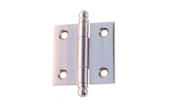 "Classic Solid Brass Ball-Tip Cabinet Hinge ~ 1-1/2"" High x 1-1/2"" Wide ~ Polished Chrome Finish"