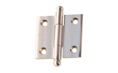 "Classic Solid Brass Ball-Tip Cabinet Hinge ~ 1-1/2"" High x 1-1/2"" Wide ~ Polished Nickel Finish"