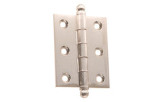 "Classic Solid Brass Ball-Tip Cabinet Hinge ~ 2"" High x 1-1/2"" Wide ~ Brushed Nickel Finish"