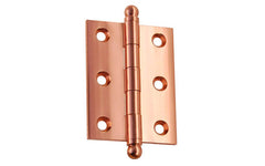 "Classic Solid Brass Ball-Tip Cabinet Hinge ~ 2"" High x 1-1/2"" Wide ~ Polished Copper Finish"