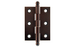 "Classic Solid Brass Ball-Tip Cabinet Hinge ~ 2"" High x 1-1/2"" Wide ~ Oil Rubbed Bronze Finish"