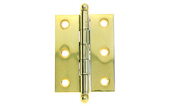 "Classic Solid Brass Ball-Tip Cabinet Hinge ~ 2"" High x 1-1/2"" Wide ~ Non-Lacquered Brass (will patina naturally over time)"