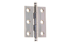 "Classic Solid Brass Ball-Tip Cabinet Hinge ~ 2"" High x 1-1/2"" Wide ~ Polished Nickel Finish"