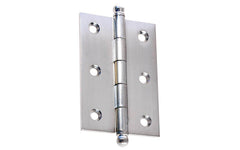 "Classic Solid Brass Ball-Tip Cabinet Hinge ~ 2-1/2"" Wide x 1-3/4"" High ~ Brushed Chrome Finish"