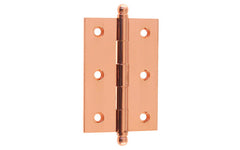 "Classic Solid Brass Ball-Tip Cabinet Hinge ~ 2-1/2"" Wide x 1-3/4"" High ~ Polished Copper Finish"
