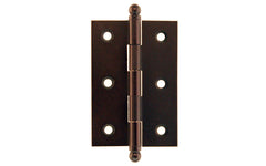 "Classic Solid Brass Ball-Tip Cabinet Hinge ~ 2-1/2"" Wide x 1-3/4"" High ~ Oil Rubbed Bronze Finish"