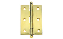 "Classic Solid Brass Ball-Tip Cabinet Hinge ~ 2-1/2"" Wide x 1-3/4"" High ~ Non-Lacquered Brass (will patina naturally over time)"