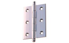 "Classic Solid Brass Ball-Tip Cabinet Hinge ~ 2-1/2"" Wide x 1-3/4"" High ~ Polished Chrome Finish"