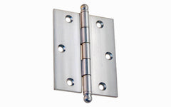 "Classic Solid Brass Ball-Tip Cabinet Hinge ~ 2-1/2"" High x 2"" Wide ~ Brushed Chrome Finish"