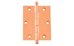 "Classic Solid Brass Ball-Tip Cabinet Hinge ~ 2-1/2"" High x 2"" Wide ~ Polished Copper Finish"