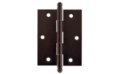 "Classic Solid Brass Ball-Tip Cabinet Hinge ~ 2-1/2"" High x 2"" Wide ~ Oil Rubbed Bronze Finish"