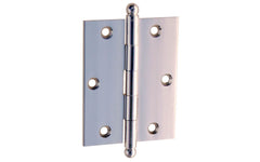 "Classic Solid Brass Ball-Tip Cabinet Hinge ~ 2-1/2"" High x 2"" Wide ~ Polished Chrome Finish"