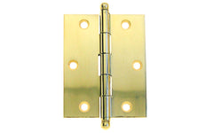 "Classic Solid Brass Ball-Tip Cabinet Hinge ~ 2-1/2"" High x 2"" Wide ~ Lacquered Brass Finish"