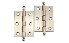 "Plated Steel Ball-Tip Cabinet Hinges ~ 2-7/16"" x 1-3/4"" ~ Brushed Nickel Finish"