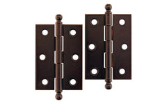 "Plated Steel Ball-Tip Cabinet Hinges ~ 2-7/16"" x 1-3/4"" ~ Oil Rubbed Bronze Finish"