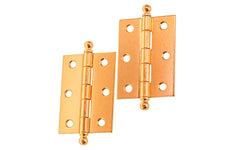 "Plated Steel Ball-Tip Cabinet Hinges ~ 2-7/16"" x 1-3/4"" ~ Brass Finish"