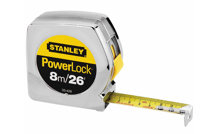 Stanley Powerlock 8m / 26' Tape Measure - Metric & Standard ~ 33-428 - Made in USA