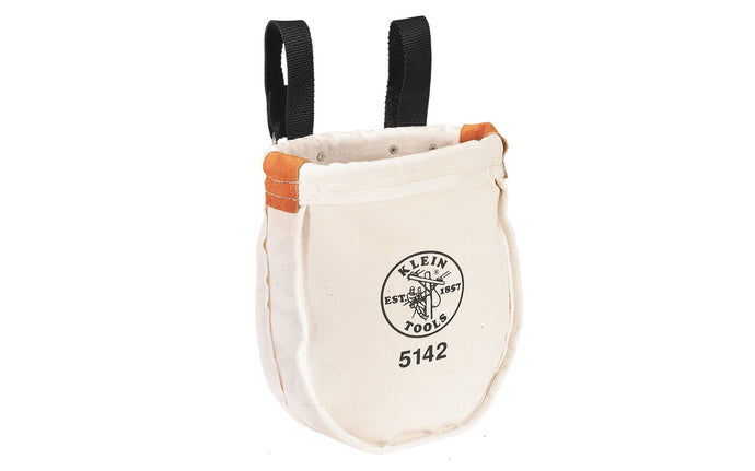 Klein Tools - Made in USA ~ 5142-P - Tough Canvas material - Klein Canvas Pouch - Klein Canvas Bag - Includes interior pocket - Inside bottom is reinforced with tough, tanned leather - Ventilating eyelet in bottom - Snap hooks on loops for fast attachment on belts up to 3