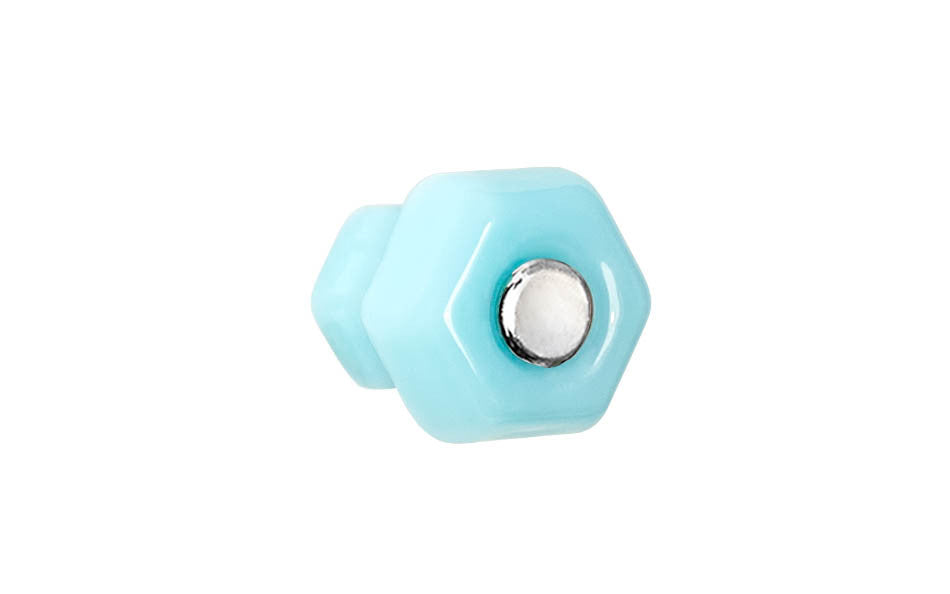 Classic Hexagonal Glass Knob ~ Milk Blue ~ 1