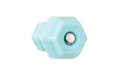 "Classic Hexagonal Glass Knob ~ Milk Blue ~ 1-1/4"" Diameter"