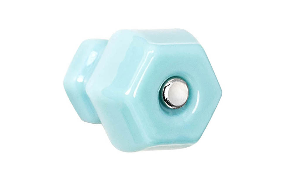 Classic Hexagonal Glass Knob ~ Milk Blue ~ 1-1/2