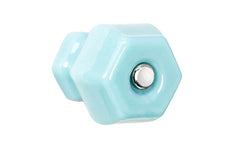 "Classic Hexagonal Glass Knob ~ Milk Blue ~ 1-1/2"" Diameter"