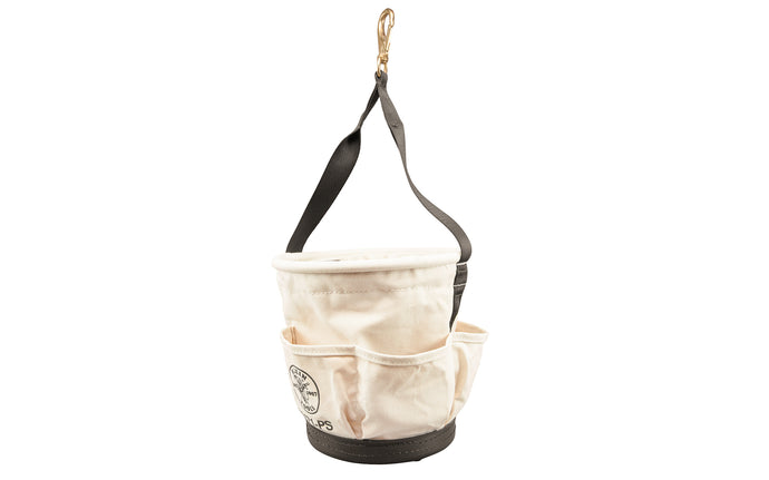 Klein Tools - Made in USA - Model 5171-S ~ Made of Canvas material ~ Web handle extends down the sides of the bucket for added strength ~ Riveted leather glove strap ~ Black molded polypropylene bottom ~ Klein Canvas Tapered Bucket - 12