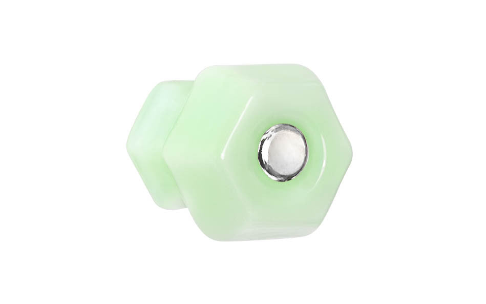 Classic Hexagonal Glass Knob ~ Milk Green - Jade ~ 1-1/4