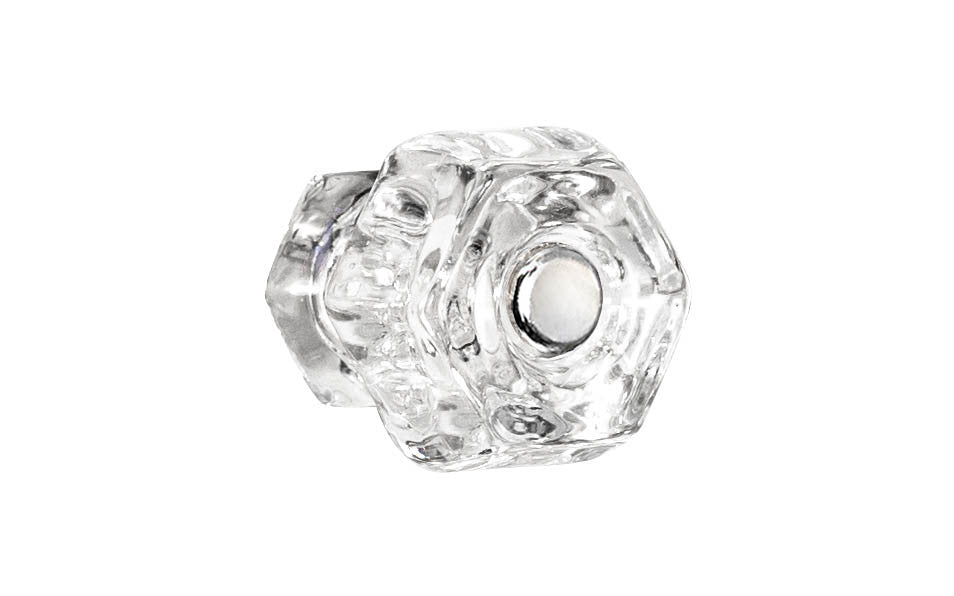 Classic Hexagonal Glass Knob ~ Clear ~ 1-1/4