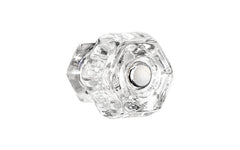 "Classic Hexagonal Glass Knob ~ Clear ~ 1-1/4"" Diameter"