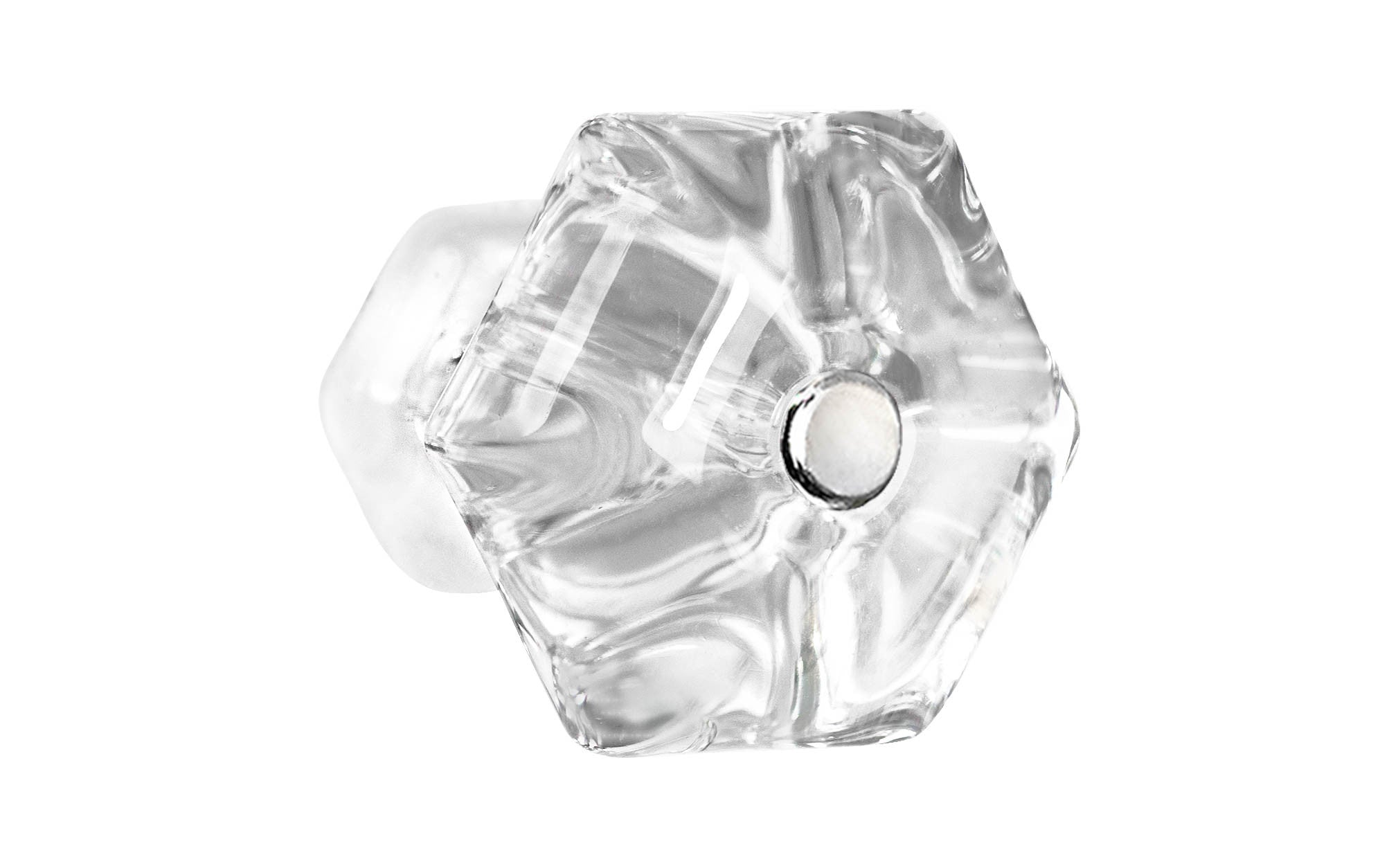 Classic Hexagonal Glass Knob ~ Clear ~ 1-3/4