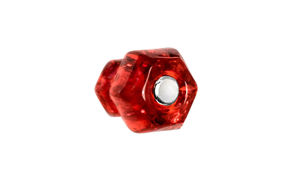 Classic Hexagonal Glass Knob ~ Ruby Red ~ 1