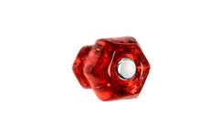 "Classic Hexagonal Glass Knob ~ Ruby Red ~ 1"" Diameter"