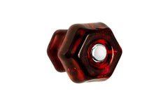 "Classic Hexagonal Glass Knob ~ Ruby Red ~ 1-1/4"" Diameter"