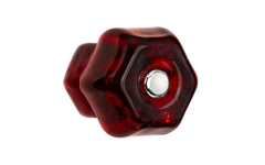 "Classic Hexagonal Glass Knob ~ Ruby Red ~ 1-1/2"" Diameter"